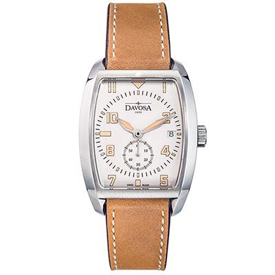 DAVOSA Evo 1908 復刻獨立酒桶小秒針手錶-銀x淺咖啡皮帶/36mm