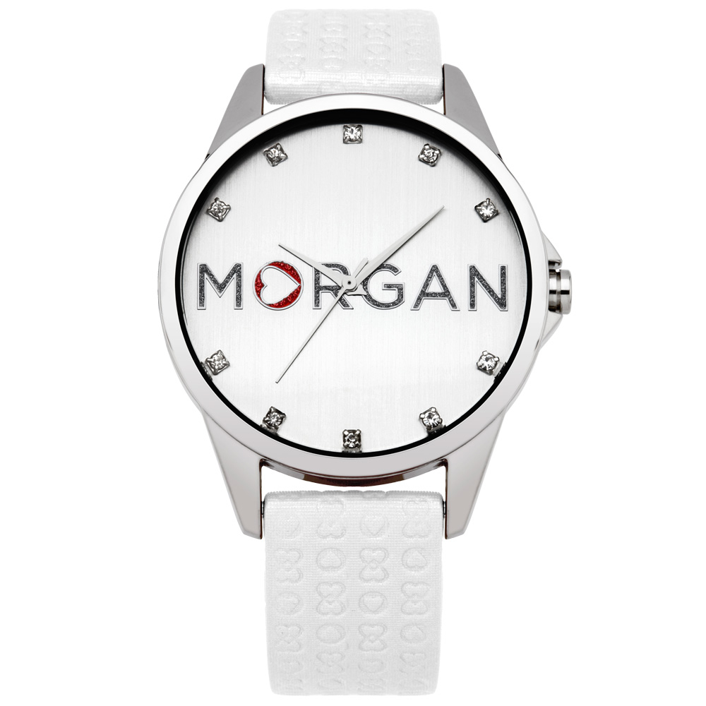 MORGAN 愛戀同心晶鑽時尚腕錶-銀X白/38mm