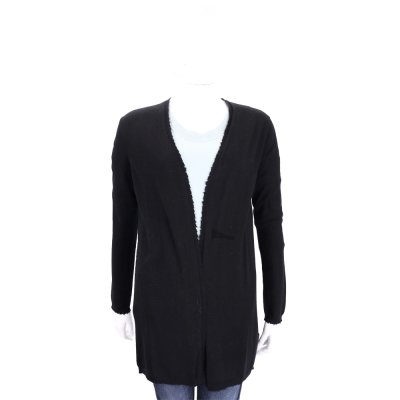 ALLUDE 黑色開襟不規則飾邊針織外套(100%WOOL)