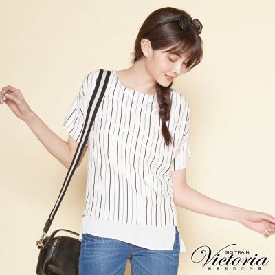 Victoria 假二件項鍊飾寬鬆短袖T-女-白底黑條