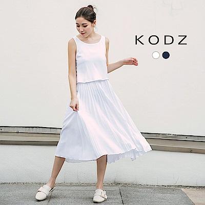 東京著衣-KODZ 清新女神風假兩件式百褶洋裝-S.M.L(共二色)