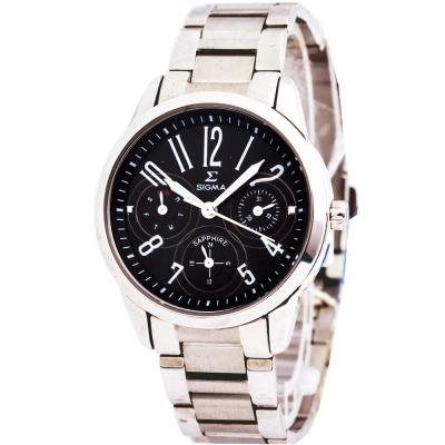 SIGMA 經典三眼鋼帶腕錶-黑32mm