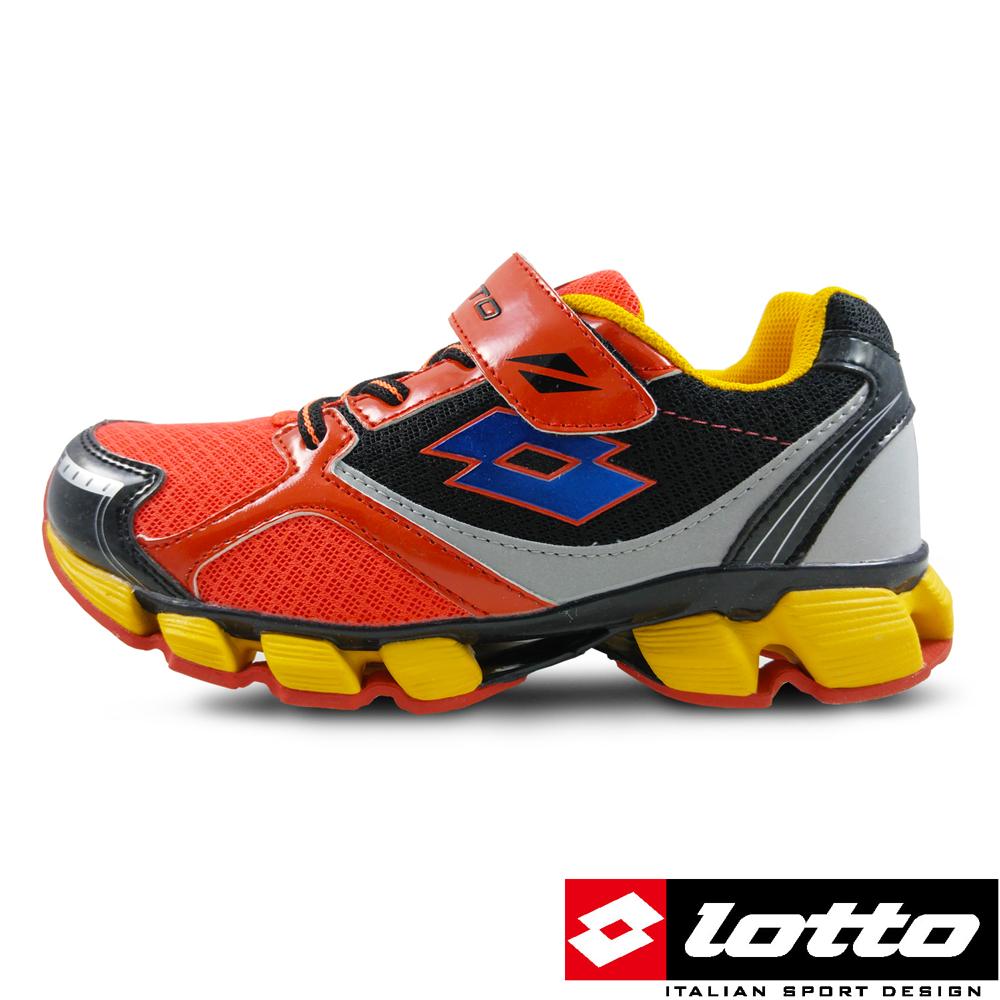 LOTTO義大利男大童X-POWER彈力跑鞋橘黑