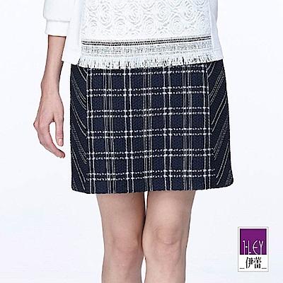 ILEY伊蕾 厚實質感格紋拼接短裙(藍)