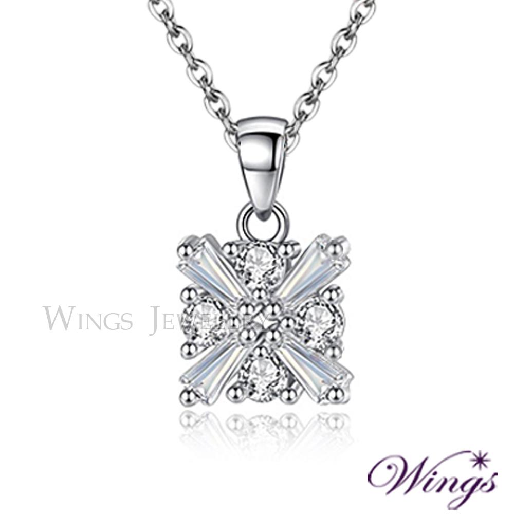Wings 冰晶閃耀 璀璨八心八箭與T鑽的美妙組合 方晶鋯石精鍍白K金項鍊