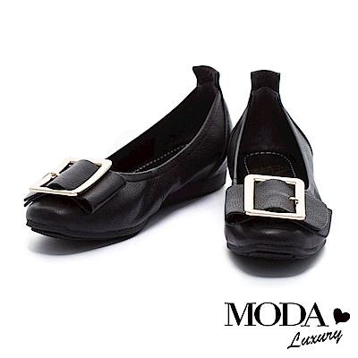 娃娃鞋 MODA Luxury 摩登時尚金屬方型釦全真皮內增高娃娃鞋-黑