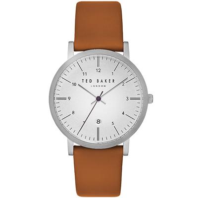 Ted Baker 英倫紳士時尚皮革手錶-銀X咖啡/40mm