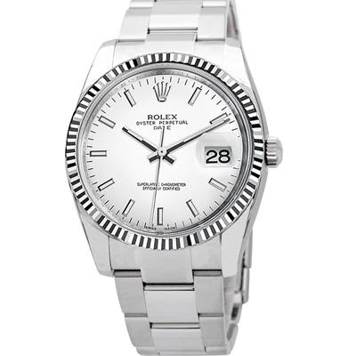 ROLEX 勞力士 Datejust 115234 蠔式日誌型機械錶白條丁面/34mm