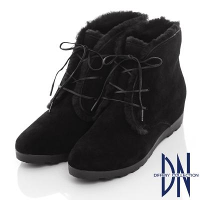 DN 冬漾暖意 質感牛反毛滾邊綁帶內增高踝靴-黑