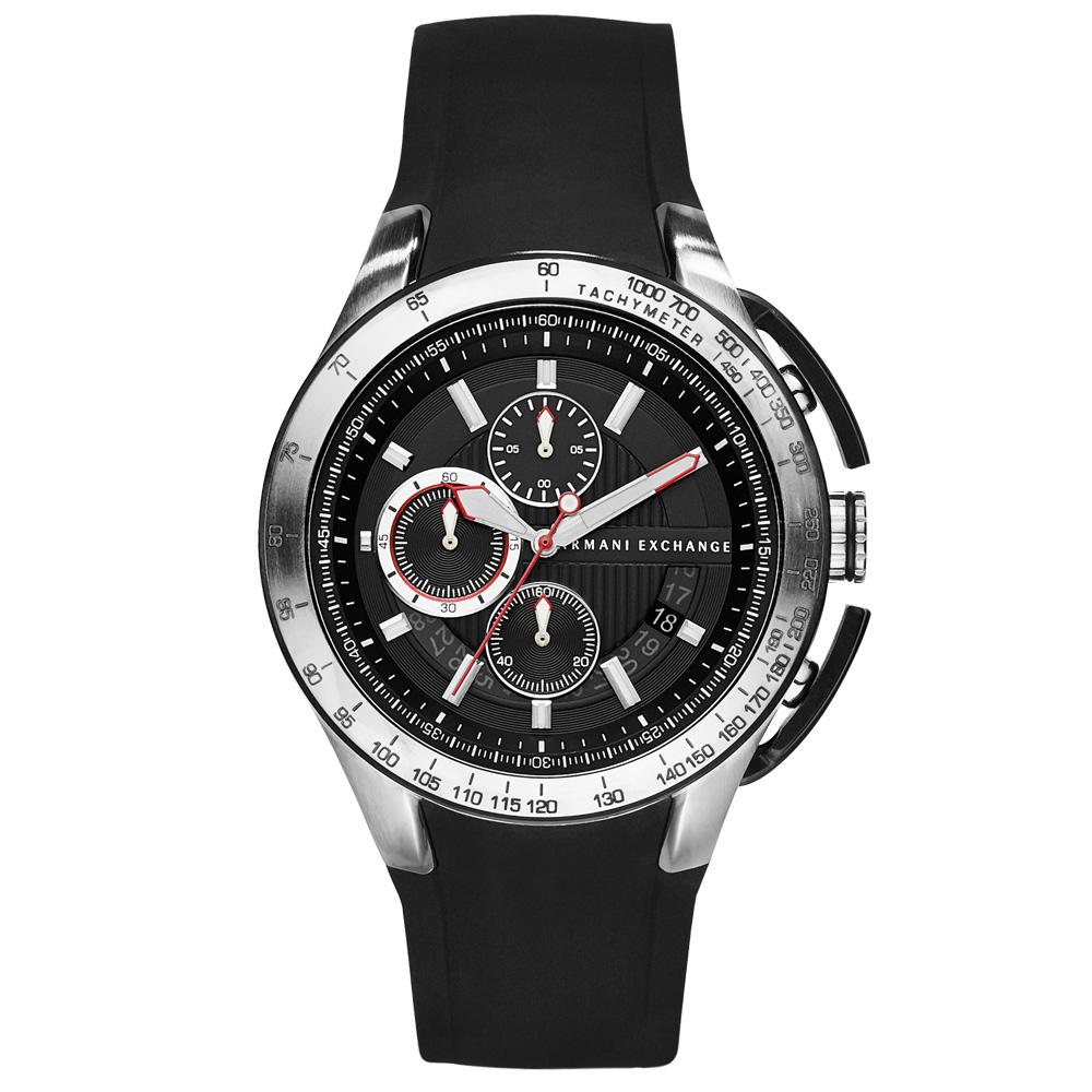 A│X Armani Exchange 品味時尚膠帶腕錶--黑/45mm