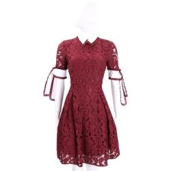 PINKO 紅色織花綁帶短袖洋裝