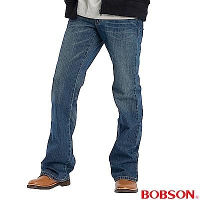 BOBSON 男款立體褶痕小喇叭褲-中藍