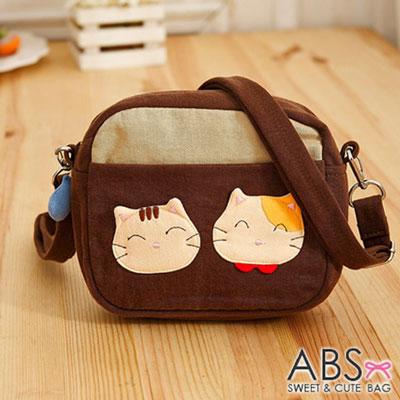 ABS貝斯貓 - SIMPLE STYLE微笑貓咪拼布 小型側背包88-181 - 咖啡