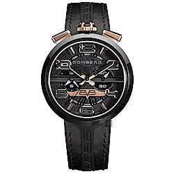 BOMBERG 炸彈錶 FIXED 1968 MEN 計時手錶-黑x金/45mm
