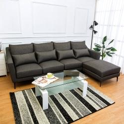 Bernice 蘭德L型灰色防潑水亞麻布沙發(四人座+腳椅)(送腰枕)