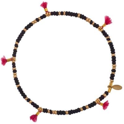 SHASHI 紐約品牌 ANA LILU 彩虹流蘇 幸運手鍊 金塊&寶石黑 微顆粒珠
