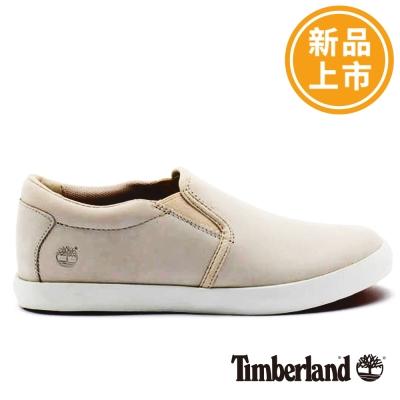 Timberland-女款灰白色素面皮革淺口便鞋