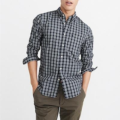 A&F 經典刺繡麋鹿格紋長袖襯衫-深藍色 AF Abercrombie