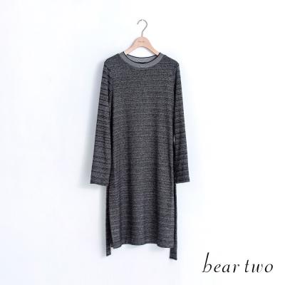 beartwo 混色橫紋綁帶開衩長版上衣(黑色)