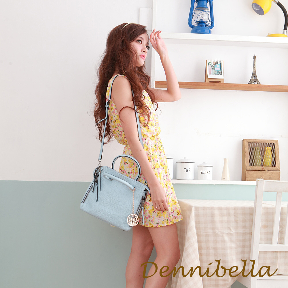 Dennibella 丹妮貝拉 -真皮斜背鱷魚紋包-藍