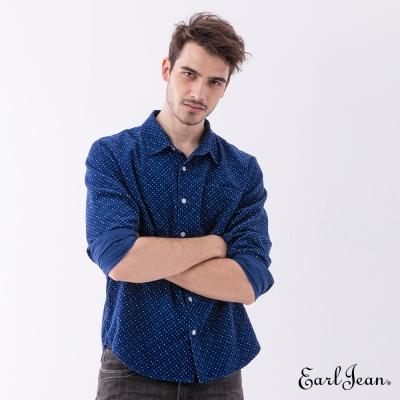 Earl Jean 燈芯絨印花襯衫-藍色-男