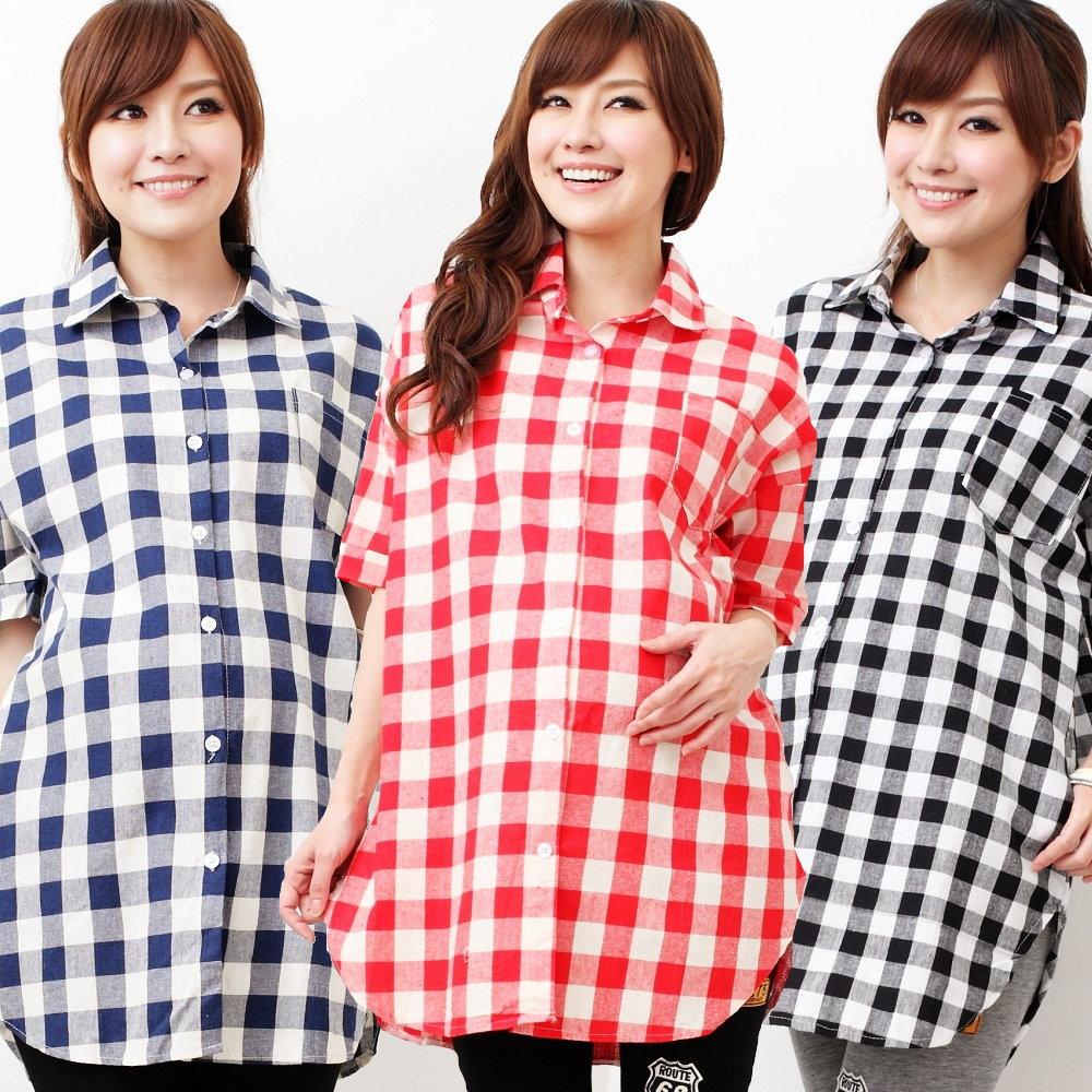Keep Chic孕婦裝-格紋百搭率性款長版襯衫(共三色)