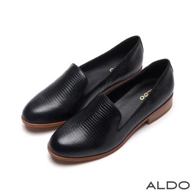 ALDO-原色蛇紋真皮鞋面復古木紋樂福鞋-尊爵黑色