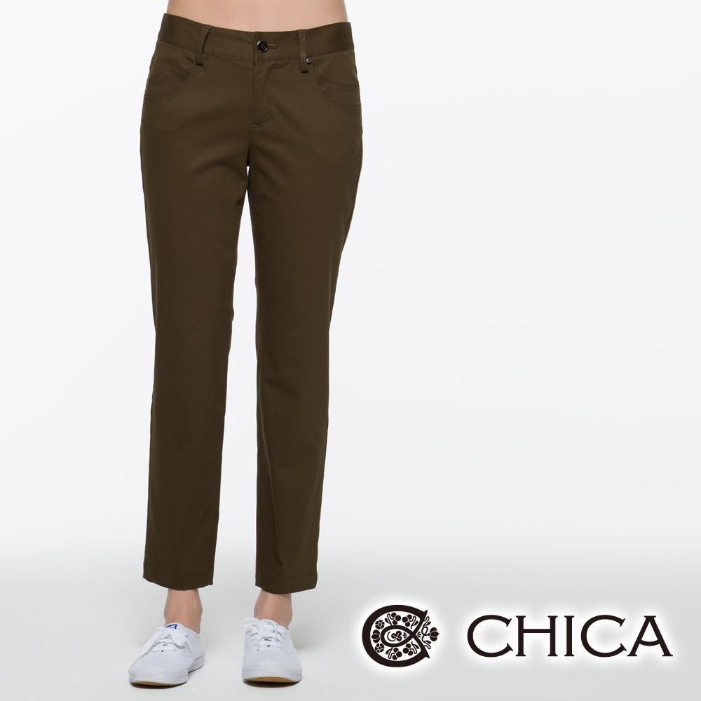 CHICA 口袋雙車縫全長直筒褲(共三色)