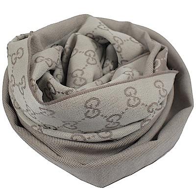 GUCCI-經典G-LOGO造型長圍巾-披肩-灰