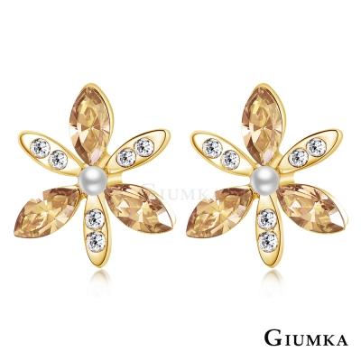GIUMKA 綺麗花朵 水晶耳環-香檳金