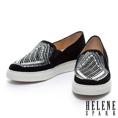 休閒鞋-HELENE-SPARK-雙色排鑽全真皮厚