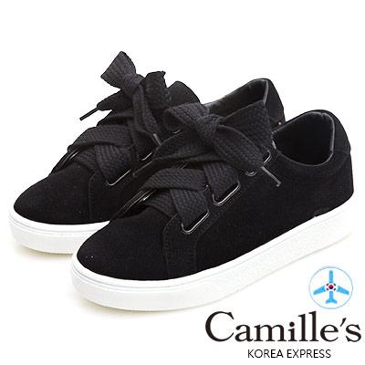 Camille's 韓國空運-正韓製-2WAY麂絨寬綁帶休閒鞋-黑色