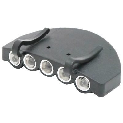 月陽超亮5LED帽檐燈夾帽燈帽沿燈工作燈送電池(350)
