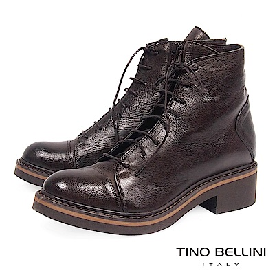 Tino Bellini義大利進口經典羊皮綁帶中低跟軍靴_ 咖