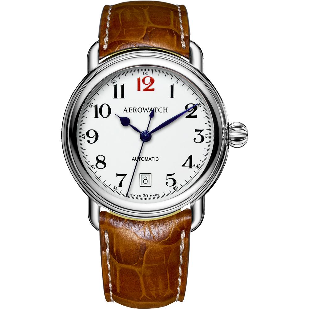 AEROWATCH 復刻紳士時尚機械腕錶-白x棕/40mm