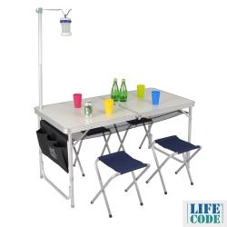 LIFECODE 007鋁合金折疊桌+4張帆布椅 (附燈架+置物網+側袋)