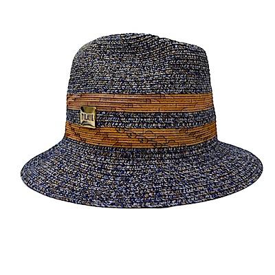 Alviero Martini地圖 時尚草帽-藍灰