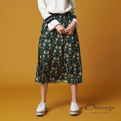 OUWEY歐薇 優雅謐綠印花壓褶裙(綠)-動態show