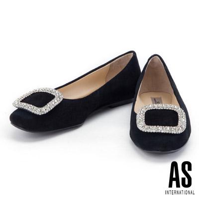 娃娃鞋 AS 晶鑽方釦羊麂皮平底娃娃鞋-黑