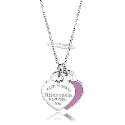 Tiffany&Co. Return to Tiffany 粉紫大雙心925純銀項鍊