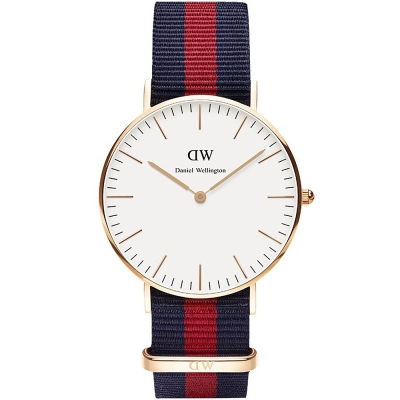 DW Daniel Wellington Oxford經典學院藍紅尼龍腕錶-白/36mm