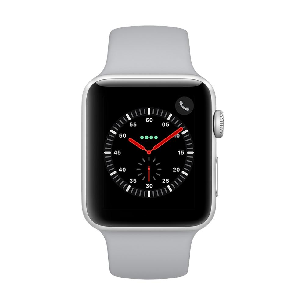 Apple Watch Series 3 行動網路,42mm銀色鋁金屬錶殼/薄霧灰運動錶帶