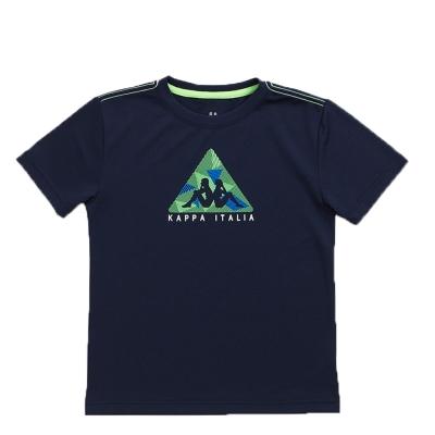 KAPPA義大利小朋友吸濕排汗速乾彩色圓領衫 丈青 螢光綠