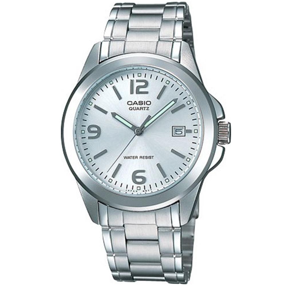 CASIO 時尚都會新風格指針錶(MTP-1215A-7A)-銀白色/37mm