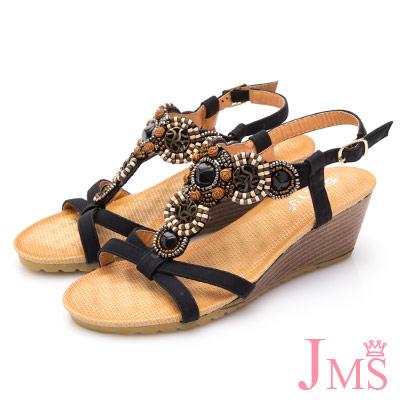 JMS-異國元素民族風串珠楔型涼鞋-黑色