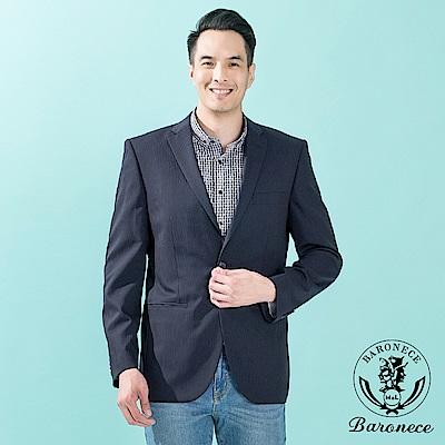 BARONECE 優雅羊毛高紗織西裝外套 深藍(513308-10)