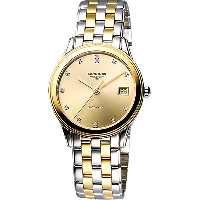 LONGINES 旗艦系列真鑽機械腕錶-半金/35.6mm