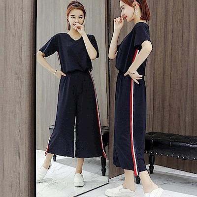 中大尺碼V領紅白滾邊上衣加側邊紅白壓條闊腿褲套裝XL~4L-Ballet Dolly