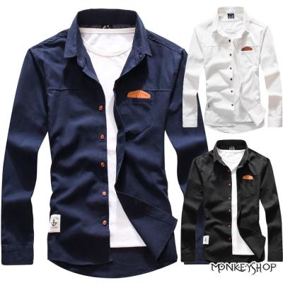 小猴子的賣場 時尚百搭款皮標設計素面長袖襯衫-3色