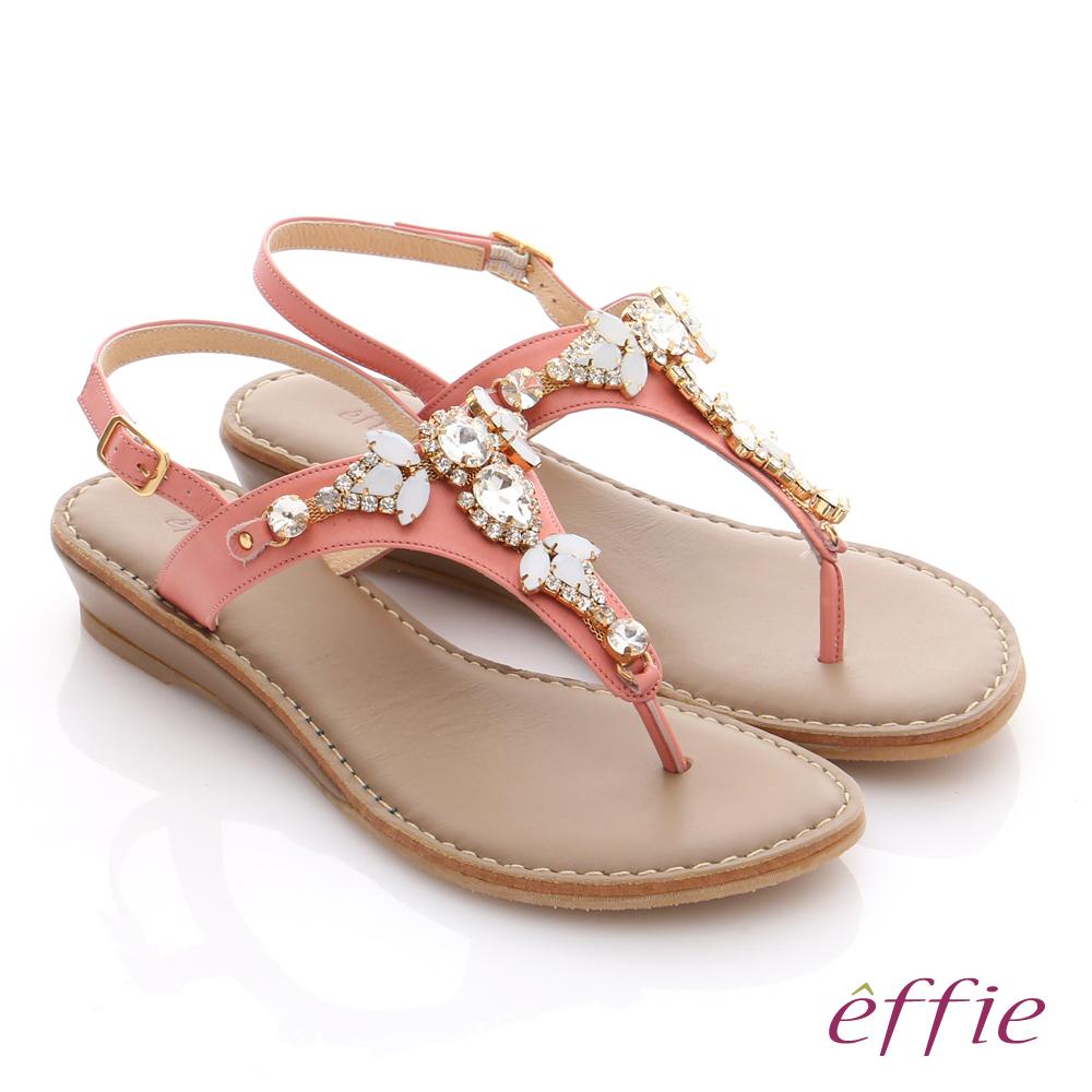 effie 嬉皮假期 真皮Y字水鑽釦環楔型涼拖鞋 粉橘色
